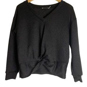 Lush black vneck front twist tie sweater